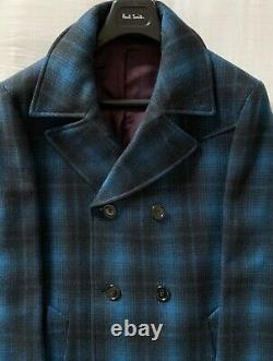 Mens Paul Smith Double-Breasted Wool-Rich Coat in a Blue/Black Soft Check XL