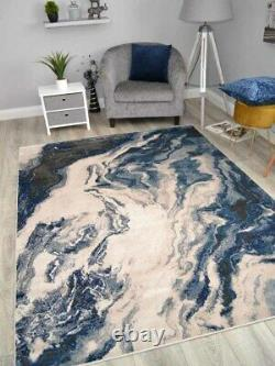 Modern Abstract Rugs Dark Blue Grey Marble Small Extra Large Soft Floor Carpets
