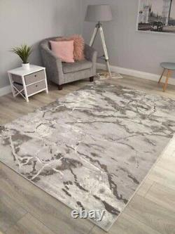 Modern Abstract Rugs Dark Grey Shiny Silver Small Extra Large Soft Floor Carpet