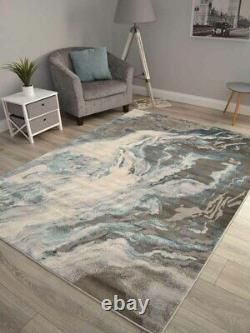 Modern Grey Shiny Light Teal Blue Marble Rugs Small Extra Large Carpet Soft UK