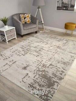 Modern Grey Shiny Silver Contemporary Rugs Small Extra Large Carpets Soft Thick
