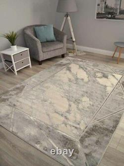 Modern Marble Effect Rugs Grey Shiny Silver Small Extra Large Soft Floor Carpet