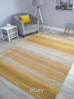 Mustard Gold Grey Thin Stripes Rugs Small Extra Large Abstract Floor Carpet Soft