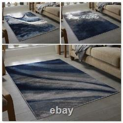 Navy Blue Grey Floor Rug Small Extra Large Sizes Thick Soft Pile Mat Cheap