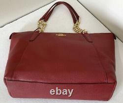 New Coach F87775 AVA Chain Tote Extra soft Refined Pebble Leather handbag Red