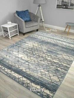 New Dark Blue Living Room Rug Small Extra Large Abstract Floor Carpet Soft Thick