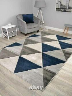 New Dark Navy Blue Grey Rugs Small Extra Large Floor Carpet Soft Thick Carved UK