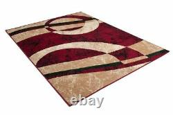 New Red Modern Design Rug Small Extra Large Soft Pile Geomteric Figure Pattern