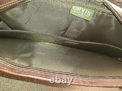 ORVIS Bullhide Heavy Thick Leather Extra-Capacity Briefcase / Messenger Bag