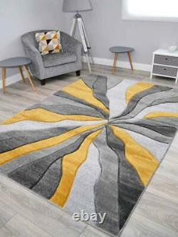 Ochre Gold Grey Mustard Thick Floor Rugs Small Extra Large Sizes Soft Pile Cheap
