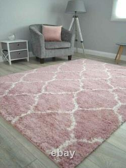 Pink Off White Small Extra Large Soft Thick Trellis Shaggy Floor Mat Rugs Cheap