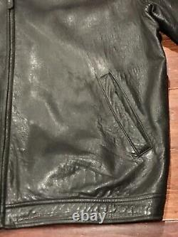 Polo Ralph Lauren Mens Black Brown Pony Insulated Soft Leather Jacket Sz XL