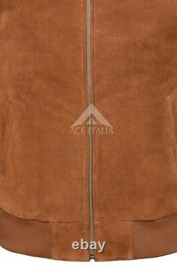 RETRO BOMBER Jacket Men's Tan SUEDE Cool Classic Soft Italian Leather Jacket 275