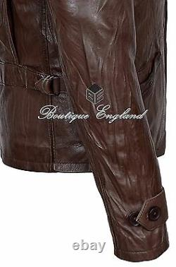 SKYFALLMen's Leather Jacket Wrinkled Brown CLASSIC 100% SOFT LEATHER 1368