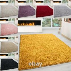 SMALL EXTRA LARGE SIZE THICK 3.5cm PILE PLAIN MODERN NON-SHED SOFT SHAGGY RUG