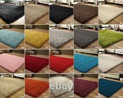 SMALL EXTRA LARGE SIZE THICK 5cm PILE PLAIN MODERN NON-SHED SOFT SHAGGY RUG