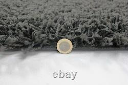 Small Extra Large Dark Charcoal Grey Thick Pile Plain Modern Soft Shaggy Rug