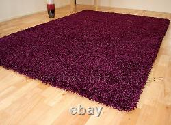 Small Extra Large Purple Plum Thick Pile Plain Modern Non-shed Soft Shaggy Rug