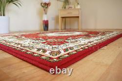 Small Extra Large Red & Beige Traditional Classic Patterned Soft Cheap Rug