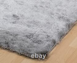 Small Extra Large Soft Next Shiny Silky Silver Grey Shimmer Luxury Shaggy Rug