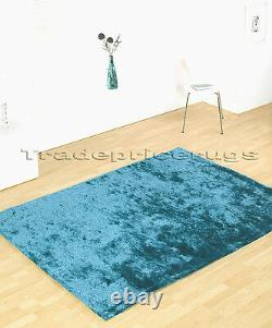 Small Extra Large Soft Shiny Next Silky Teal Blue Shimmer Luxury Shaggy Rug