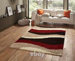 Small Extra Red Beige Stripes Large Thick Soft Rug Modern Shaggy Non Shed Rugs