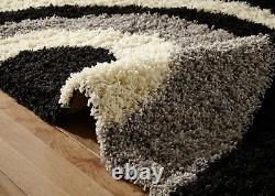 Small-extra Large Black Grey Cream Thick Soft Arcs Modern Shaggy Non Shed Rugs