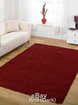 Small -extra Large Red Burgundy Thick Pile Plain Modern Non-shed Soft Shaggy Rug