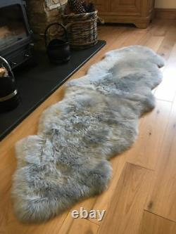 Super Soft Extra Large Double Silver Grey Genuine Real Sheepskin Rug Rugs