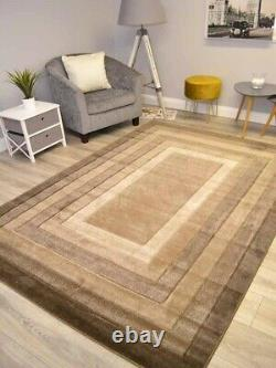 Taupe Brown Border Plain Rugs Small Extra Large Floor Carpets Soft Thick Carved