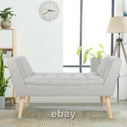 Upholstered Velvet Window Seat Chaise Lounge Bed End Arm Chair Bench Extra Large