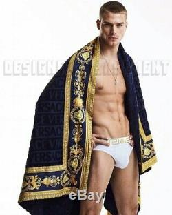 VERSACE navy Signature terry Gold BAROCCO border BEACH blanket Towel NWT Authent