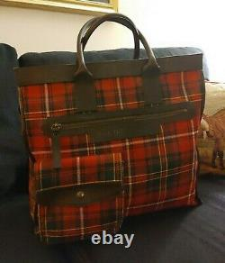 Vintage Burberry Red Plaid Soft Luggage Tote Overnighter Bag Canvas Leather