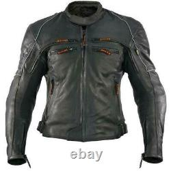 Vulcan VNE-98431 Super Soft 1.2,1.3mm Cowhide Leather Armored Motorcycle Jacket