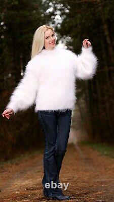 White fuzzy mohair sweater hand knitted soft fluffy thick jumper SUPERTANYA XL