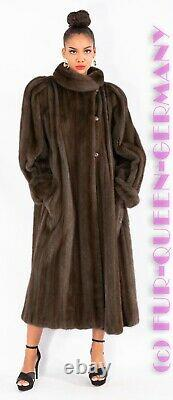 XL MAGNIFICENT ULTRA LONG SOFT TONED UP GREY-BLUE MINK FUR COAT without lining